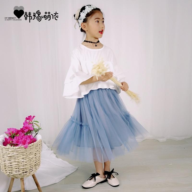 女童短裙2018夏季新款半身裙网纱蓬蓬裙中大童公主裙韩版亲子短裙