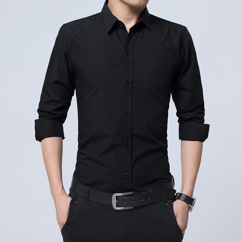秋季男士长袖衬衫韩版修身黑色商务休闲职业正装衬衣青年内搭寸衫
