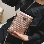手机韩版女百搭小香风菱格绣线小韩版2018新款链条包包单肩斜跨包