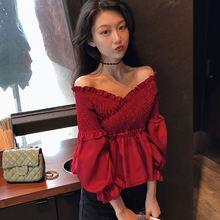 性感露肩显瘦夏秋天心机上衣 上衣直播衣服女主播服装 网红同款 新款