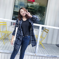 汐悠姿胖公主大码女装秋季新款宽松时尚格子长款外套衬衫上衣5326