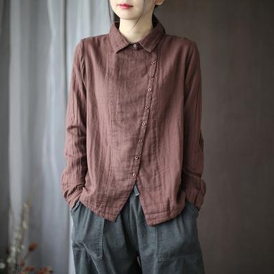 代勒秋冬新款纯色棉纱斜襟衬衫女士复古文艺宽松显瘦长袖衬衣