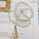 Miss Hai's Pearl Japan Exhibition Natural Freshwater Pearl Sweater Chain 14k Gold tassel necklace long section
