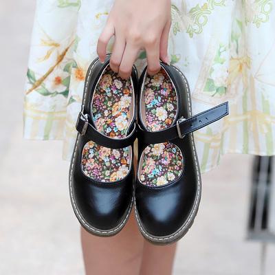 浅口鞋女平跟新款英伦小皮鞋学院风女日系软妹圆头复古娃娃小皮鞋
