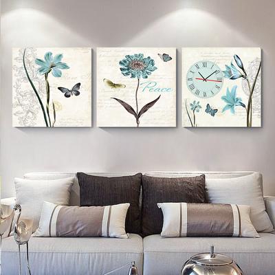 三联无框画挂钟客厅装饰画餐厅挂画 卧室床头画钟表现代创意壁画正品折扣