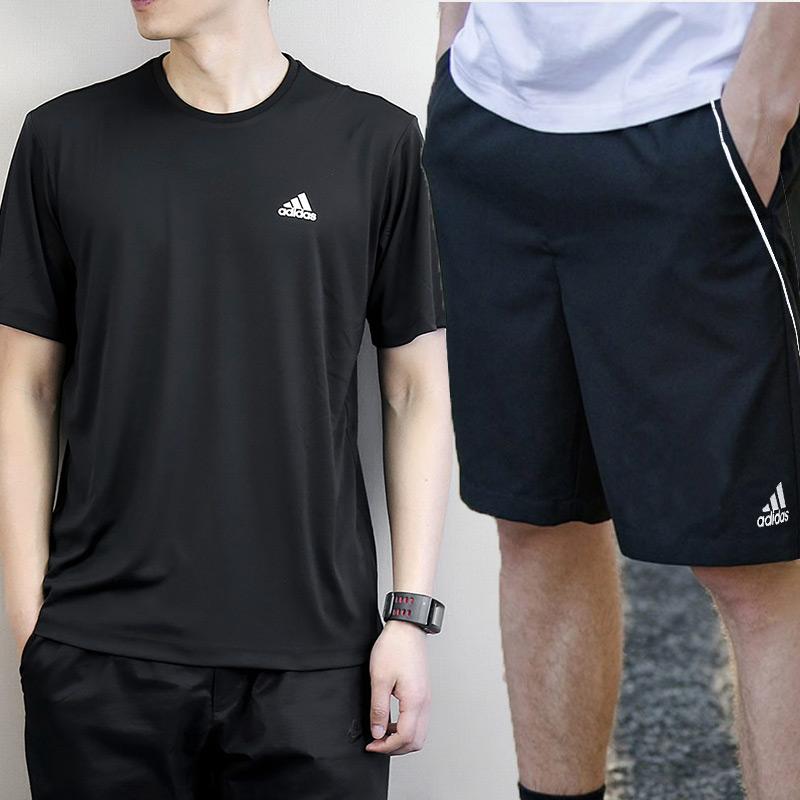 阿迪达斯套装男2019夏季新款运动服男士短袖休闲装运动衣跑步服装