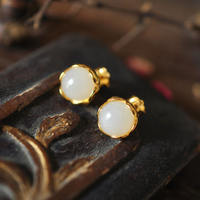 Looking back. Natural Hetian white jade earrings 925 sterling silver plated 18k yellow gold simple classical earrings