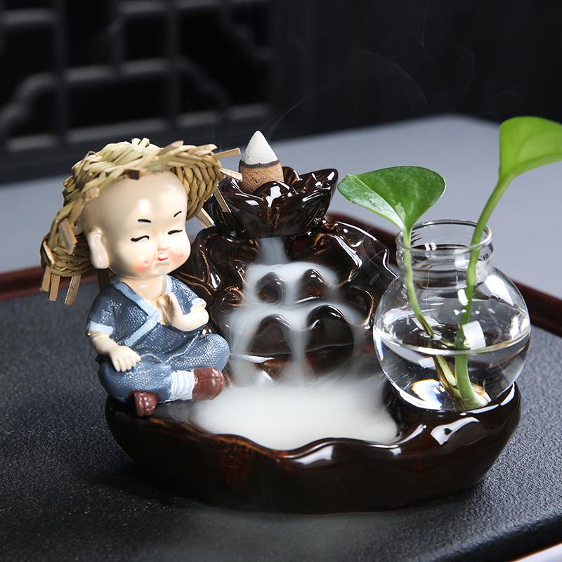 茶寵擺件可養招財倒流香禪意小和尚精品茶道茶玩茶寶茶桌茶具配件