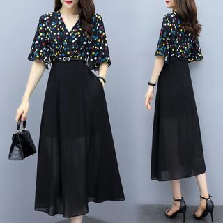 气质显瘦雪纺连衣裙2019夏季新款女装长裙修身时尚流行夏天裙子潮