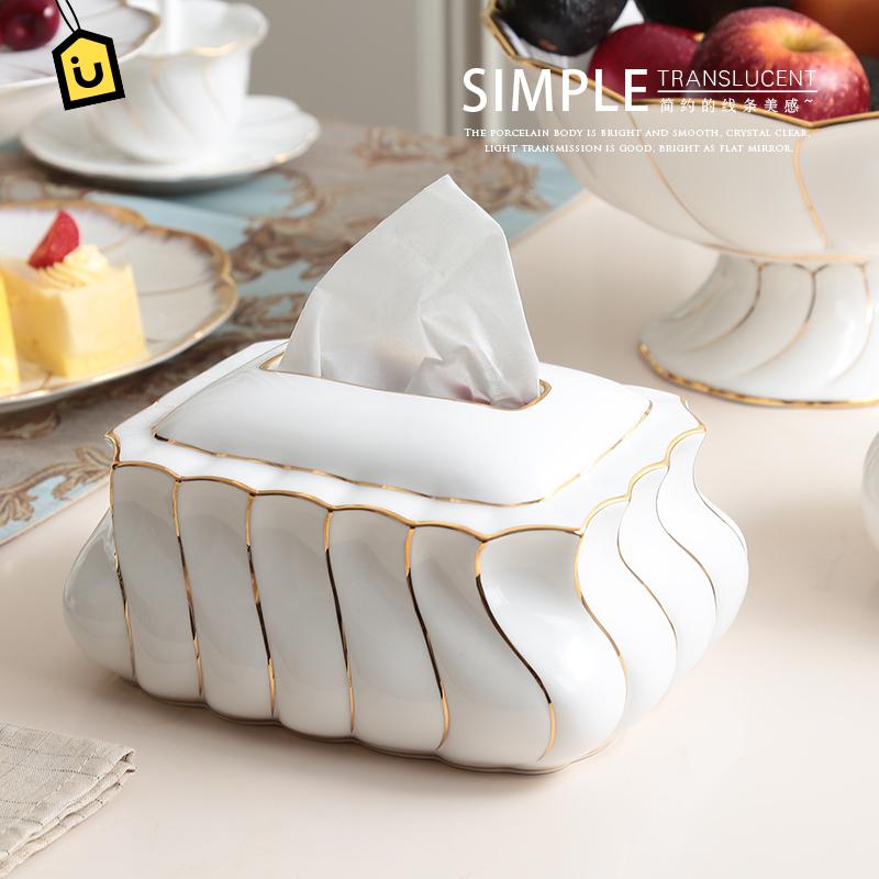 欧式陶瓷描金纸巾盒