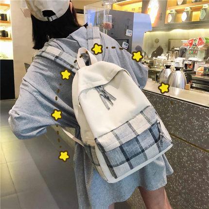 古着感少女书包女韩版高中 大学生校园森系背包百搭ins帆布双肩包