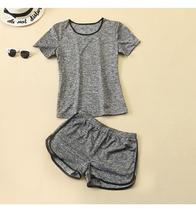 两件套潮 圆领T恤衫 韩版 短裤 女2019夏季新款 跑步休闲运动套装 女装图片