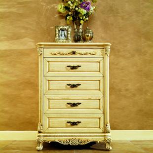 欧式五斗柜美式仿古象牙白擦色做旧法式雕花实木抽斗储物收纳柜特价
