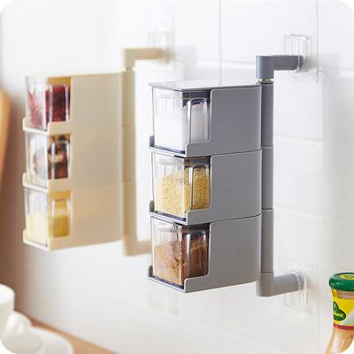 优思居 厨房壁挂式调料盒套装 免打孔调味收纳盒放糖盐味精佐料盒