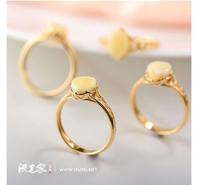 流光家 欧洲镶嵌 银镀金蜜蜡水滴戒指/菱形戒指 天然琥珀蜜蜡原石