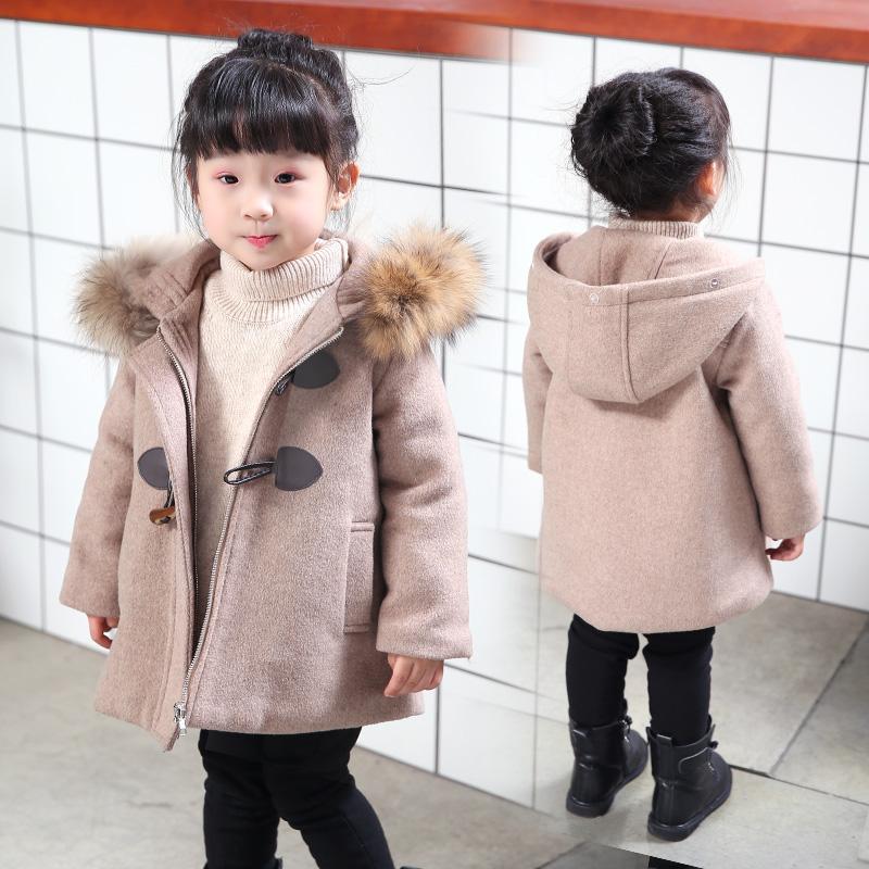 女童毛呢外套2018新款春秋韩版加厚洋气秋冬装小宝宝儿童呢子大衣