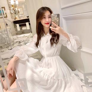 张心子白色雪纺连衣裙超仙秋装 气质显瘦长袖 2019年新款 裙子女春秋