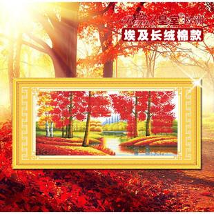 皇室欧洲十字绣纯棉正品客厅风景枫树精准印花057-金玉满堂红