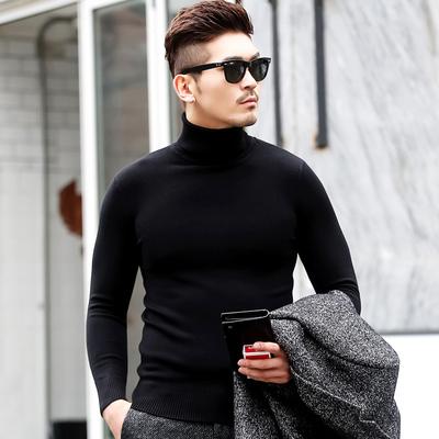 男士高领毛衣修身韩版黑色秋冬季加绒加厚针织打底衫线衣线衫毛衫