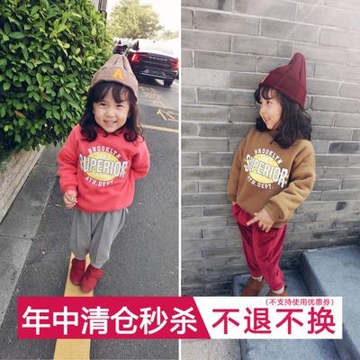 mini旦2017冬装新款童装女童加绒加厚卫衣小童宝宝卡通运动上衣潮
