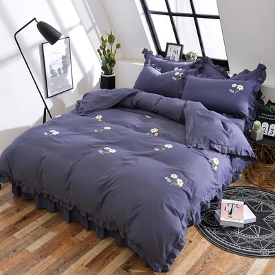 韩版公主风全棉床裙纯色床单被套1.8m床罩式床套款床上少女四件套