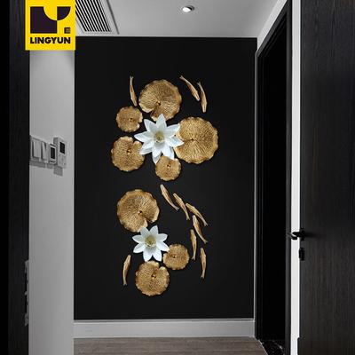 金色陶瓷荷叶鱼创意立体壁饰墙壁挂件中式玄关背景墙饰墙面装饰