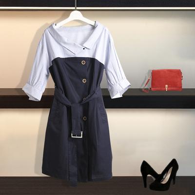 商场同款2018新款韩范中长单排扣连衣裙3187199001