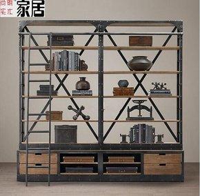 美式乡村风格铁艺做旧置物架 铁木餐边柜 展示架楼梯书架复古书架