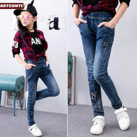 Children's clothing girls spring and autumn trousers baby big children 2019 new children's bottoming pants plus velvet jeans