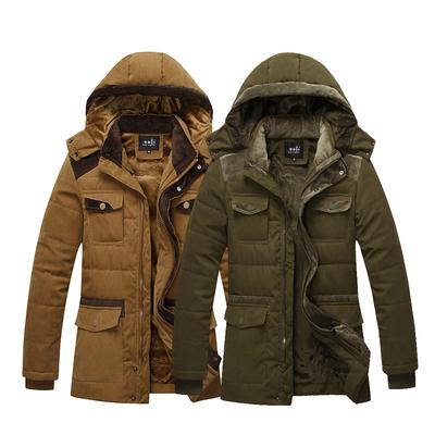 冬装男中长款纯色连帽棉衣加绒加厚保暖外套中年纯棉爸爸装棉服潮