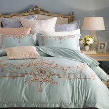 新品春款欧式刺绣美式床品全棉四件套60贡缎被套1.8m2m床上用品