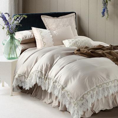 全棉纯棉蕾丝公主四件套床裙欧式美式绣花纯色六件套1.8m床上用品哪个牌子好