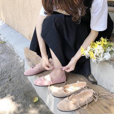单鞋女2018新款方头浅口平底交叉绑带芭蕾舞鞋学生软妹豆豆鞋女鞋