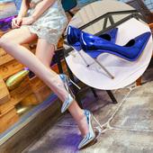 防水台百搭性感金属钢跟单鞋 12cm银色高跟鞋 女超细跟2019春季新款图片
