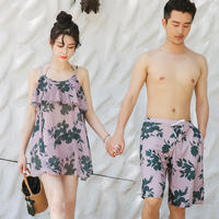 Beach Couples Set Bikini Three-piece Swimsuit Women Covered Belly Slim Beach Beach Resort Couple Swimwear