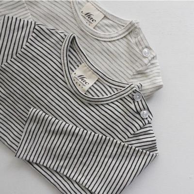 韩国进口婴幼儿纯棉条纹T恤男女童经典百搭领口有扣打底衫秋季