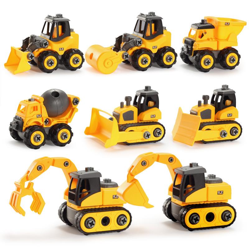 跨境益智模型玩具拆装工程车挖土机螺母DIY拼装男孩汽车