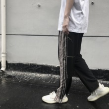 Biochemical Tide Society side striped straight-barreled slacks Guochao hip-hop men and women sports leisure pants of the same type