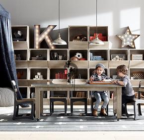 美式乡村实木收纳柜复古儿童书柜储物柜简约时尚大容量自由组合柜