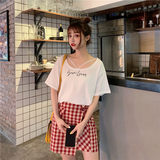 Control 25/35 real shot price 5339# quality inspection in the wild Korean lace printing round neck short sleeve T + plaid skirt