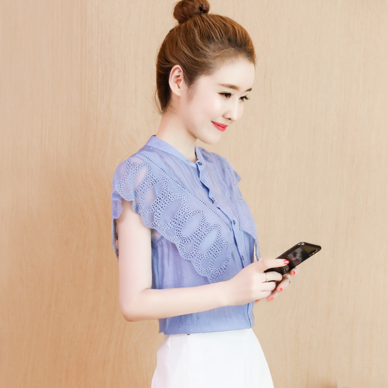 春款无袖雪纺衫女装春夏装2019年新款韩版超仙衬衫很仙的上衣洋气