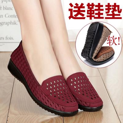 夏中老年软底老北京布鞋女鞋妈妈网鞋透气老人鞋奶奶鞋平底女凉鞋