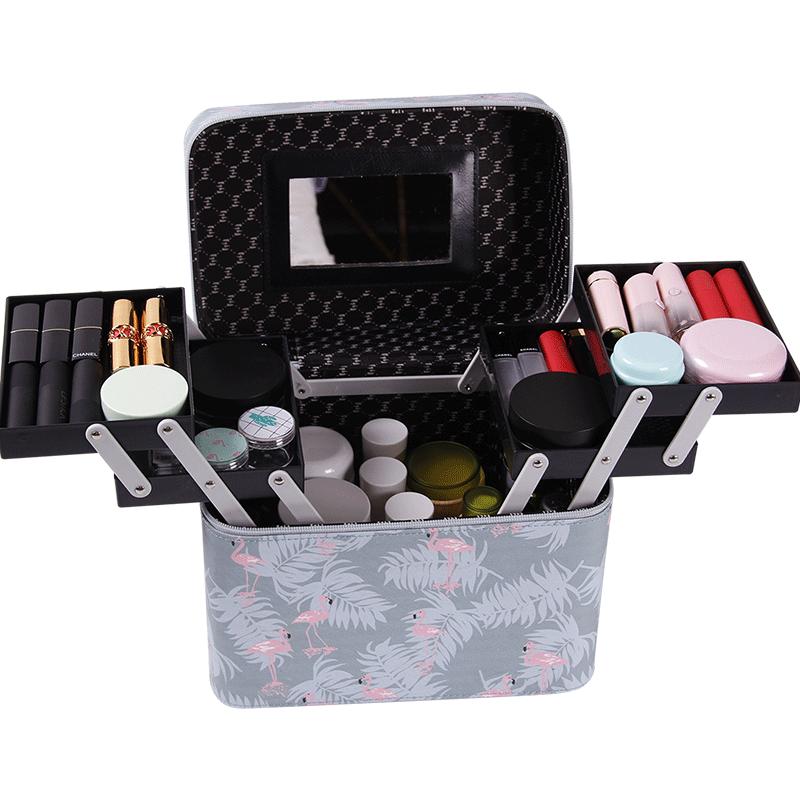 2019新款便携化妆包时尚洋气女手提收纳盒品大容量箱装lolita网红