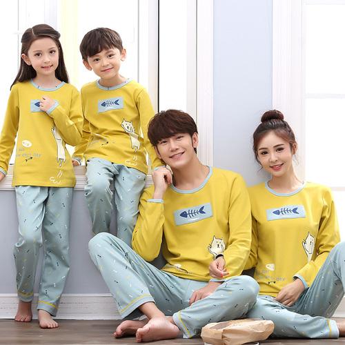 亲子睡衣长袖纯棉春秋季一家三口家庭装男童女孩儿童家居服母子装