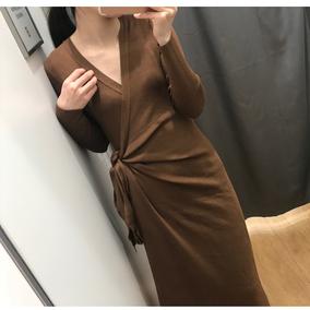 法式茶歇裙 一片式交叉绑带细针织连衣裙 Tea Dress