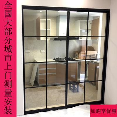黑框玻璃移门窄边细框推拉门厨房客厅阳台卫生间谷仓吊门隔断定制