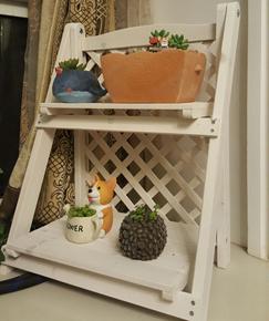 飘窗花架子两层桌面多肉双层卧室小型木质实木窗台多层迷你置物架