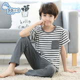 Summer Boy Pajamas Cotton Boys Big Boys Children Short Sleeve Pants Thin Home Air Conditioning Clothing Set