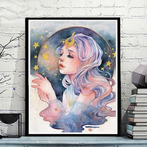 diy数字油画定制卧室花宴少女大幅填色画手绘油彩画北欧ins装饰画