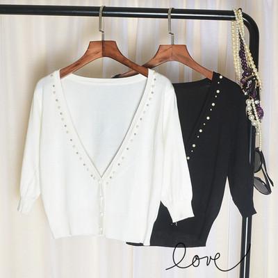 女款中袖针织开衫百搭珍珠款外搭 小外套小披肩 坎肩 空调衫 潮衣